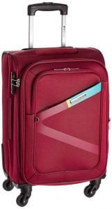 Safari Greater Polyester Red Cabin 4 Wheels Hard Suitcase